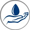 water drop and hand icon